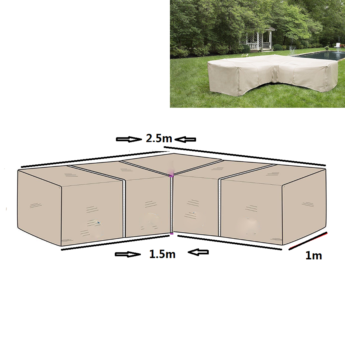 2pcs Garden Furniture L Shape Sofa Cover Slipcover Polyester Piano Sofa Couch Covers Living Room Outdoor Waterproof Dustproof All-purpose Covers