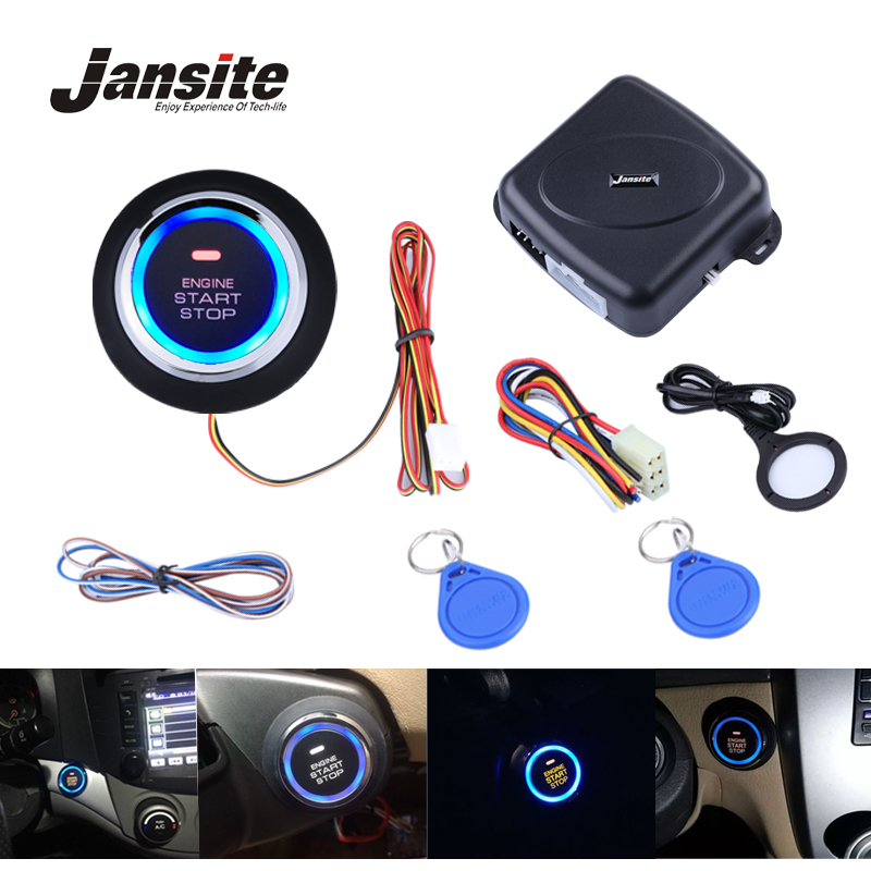 Jansite Smart Car Engine Push Start Stop Button RFID Lock Ignition Keyless Entry System Auto Start Stop Immobilizer Starline smart car security alarm system ignition start stop button auto keyless entry car door central lock remote engine start stop