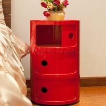 Прикроватный столик, пластиковый современный минималистичный шкафчик для спальни с круглым боковым шкафчиком, домашний Европейский шкаф для хранения