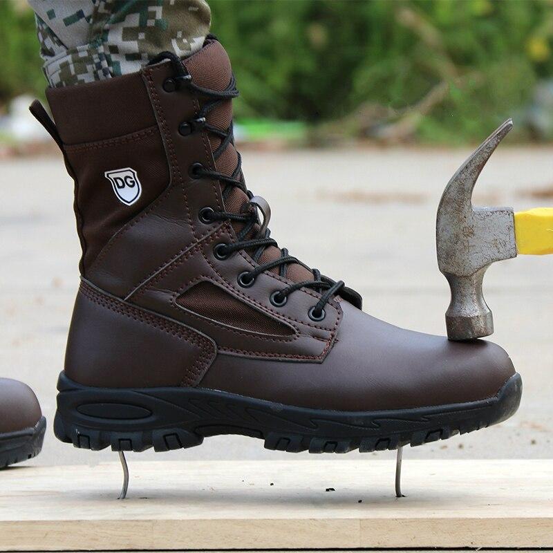 Angleterre style hommes loisirs acier orteil couverture travail chaussures de sécurité anti-percer chantier travailleur sécurité cheville bottes protéger