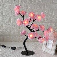 24LED rosa blanca y rosada flor noche luz de noche de dormitorio lámpara de mesa decoración de árbol de Navidad de fiesta de boda