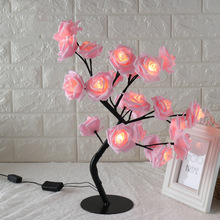 24LED White Pink Rose Flower Bedside Bedroom Night Light Table Lamp Home Decor Simulation Tree Christmas Wedding Party led fire tree silver flower night light energy saving bedroom bedside romantic desk lamp party home decor