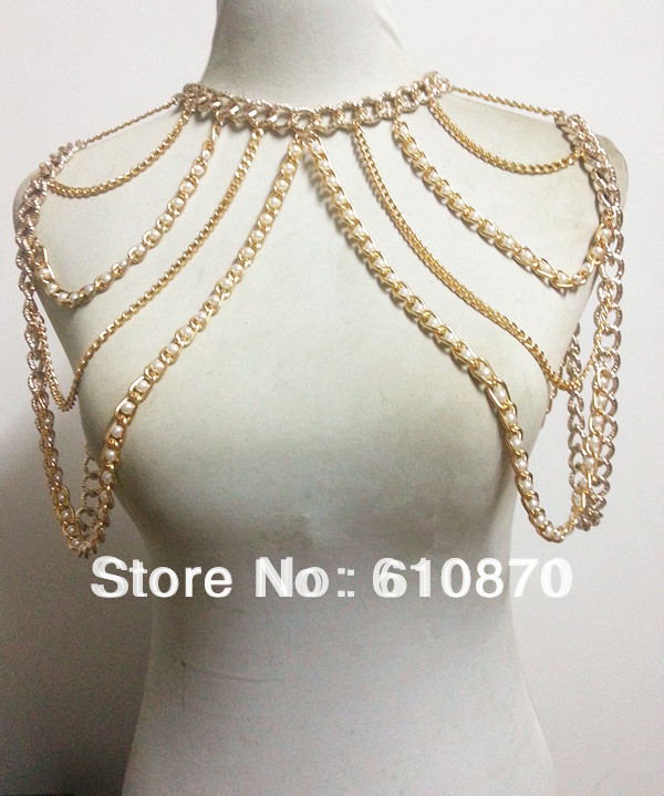 2014 Exaggerated Fashion Design Gold Shoulder Chain Necklace Punk Body Harness Slave Link Choker - Jianing Jewelry's store
