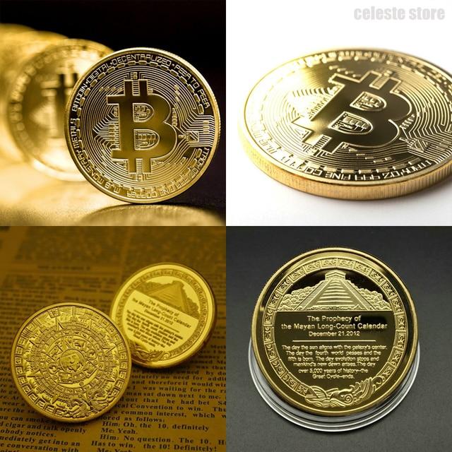 Позолоченные физические биткоины BTC Майя мемориальная монета Пирамиды монеты с чехлом подарок наградная монета художественная коллекция Биткойн