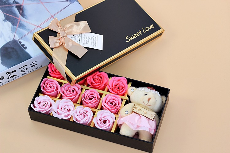12 Eternal Rose Soap Flowers One Bear Included Gift Box Valentine