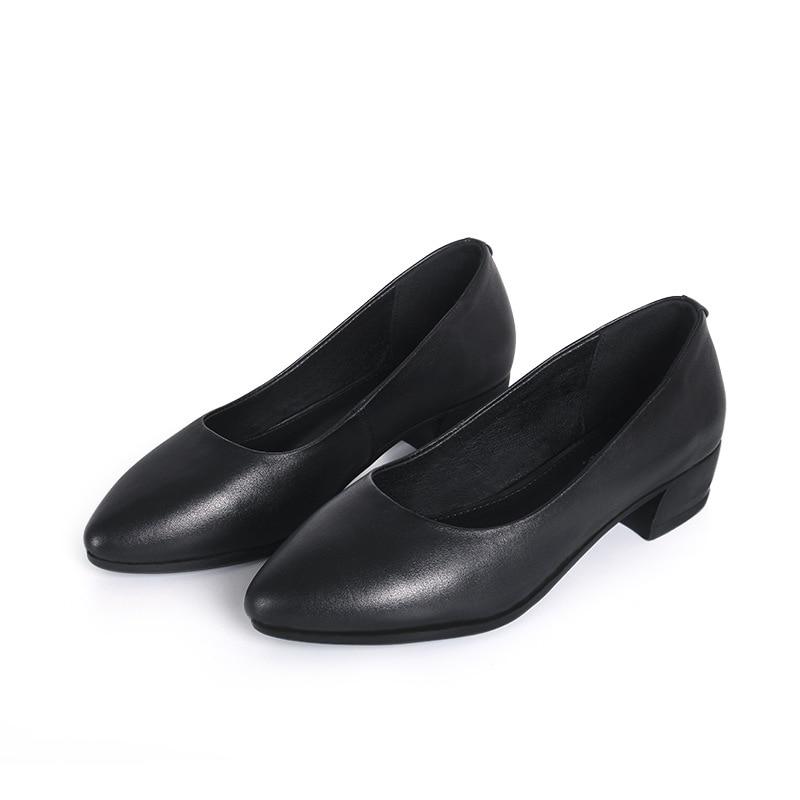 Women Leather Shoes Medium High Heels