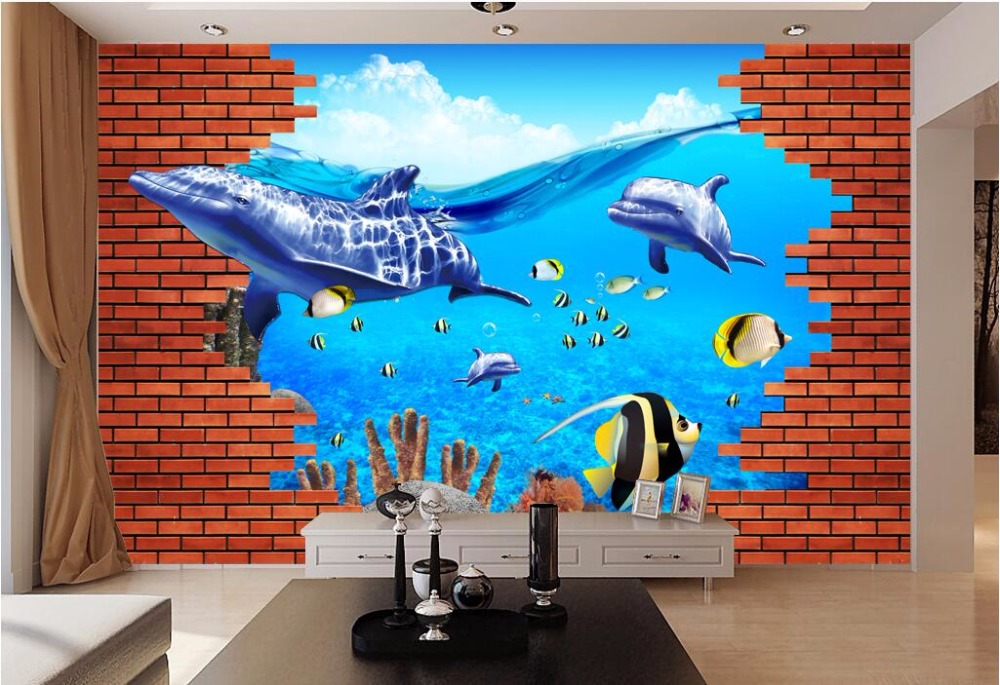Custom mural photo 3d wallpaper Red brick wall sea world dolphin and whale painting 3d wall murals wallpaper for walls 3 d custom size photo retro brick wall wallpaper black and white graffiti wall painting wallpaper mural