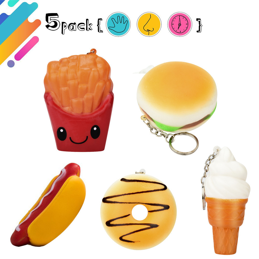 Practical Kawaii Squishy Toy Donut Ice Cream Cone Cup Cake Pizza Hot Dog French Fires Slow Rising Squeeze Toys Phone Strap Key Chain Mobile Phone Accessories