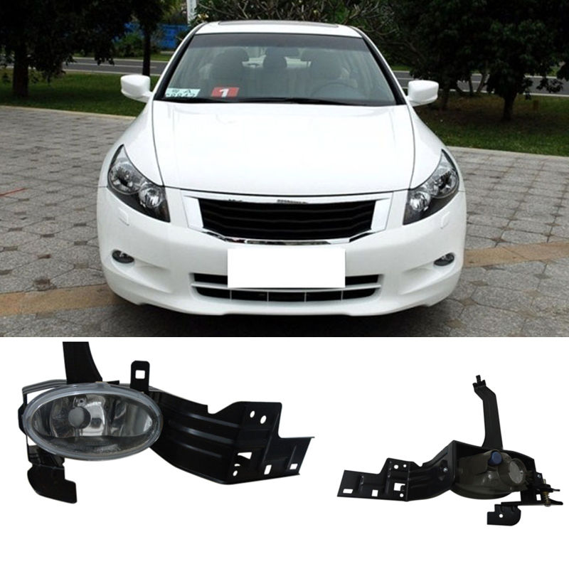 1Set Front Fog Bumper Lamp Light Assembly For Honda Accord 8 2008 2009 2010 front lower left right bumper fog light grille cover fog light lamp kit set for honda accord 4door 1998 2002