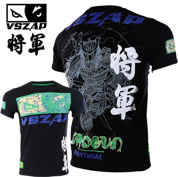 VSZAP Shogun Bodybuilding Short-sleeved T Shirt MMA General Sanda Fighting Thai Boxing Martial Arts Running Man
