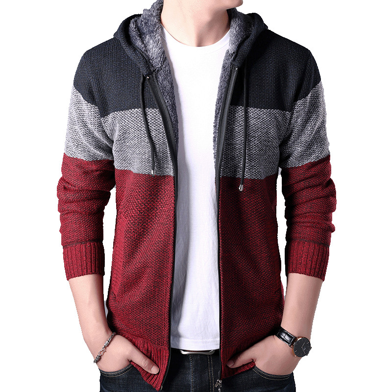 New Jackets Men 2019 Fashion Thick Warm Velvet Streetwear Trend Cardigan knitted Zipper Jacket Winter Hooded Casual Coat Mens(China)