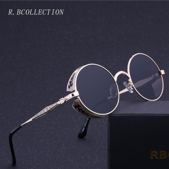 Готический стимпанк Круглый Для мужчин  женские солнцезащитные очки в стиле  ретро наружное солнцезащитные очки для dac28664a0f09