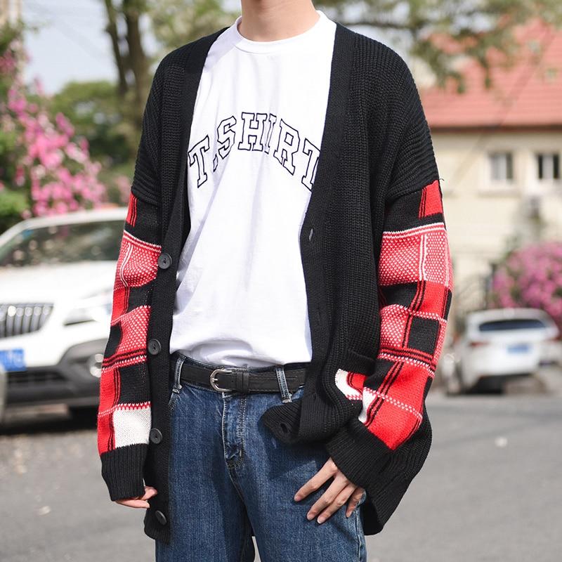 Cardigan solide à carreaux contrastés homme bleu noir surdimensionné hommes Cardigan tricoté chandail homme Cardigan lâche Masuclino manteau chinois