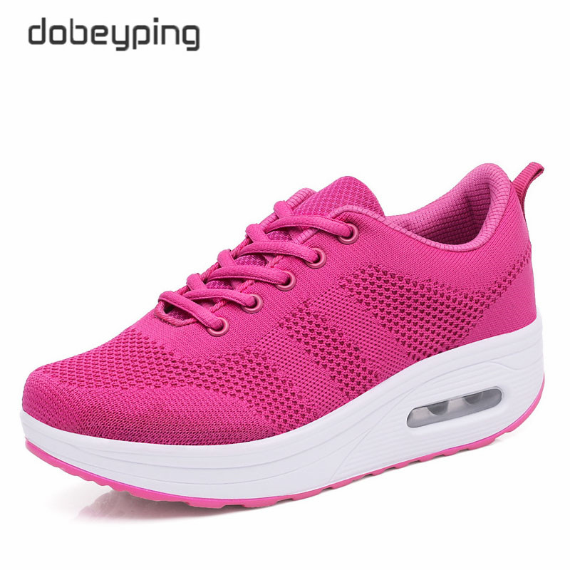 Image 3 - 2018 New Spring Summer Casual Shoes Woman Breathable Mesh Women Loafers Platform Womans Sneakers Lace Up Ladies Flats Shoeladies flats shoesflats shoesloafer platform -