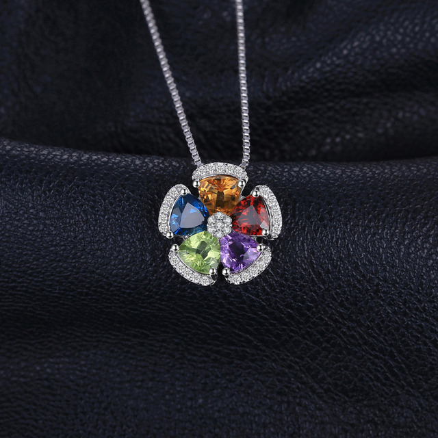 Amethyst Citrine Garnet Peridot Topaz Pendant Necklace 925