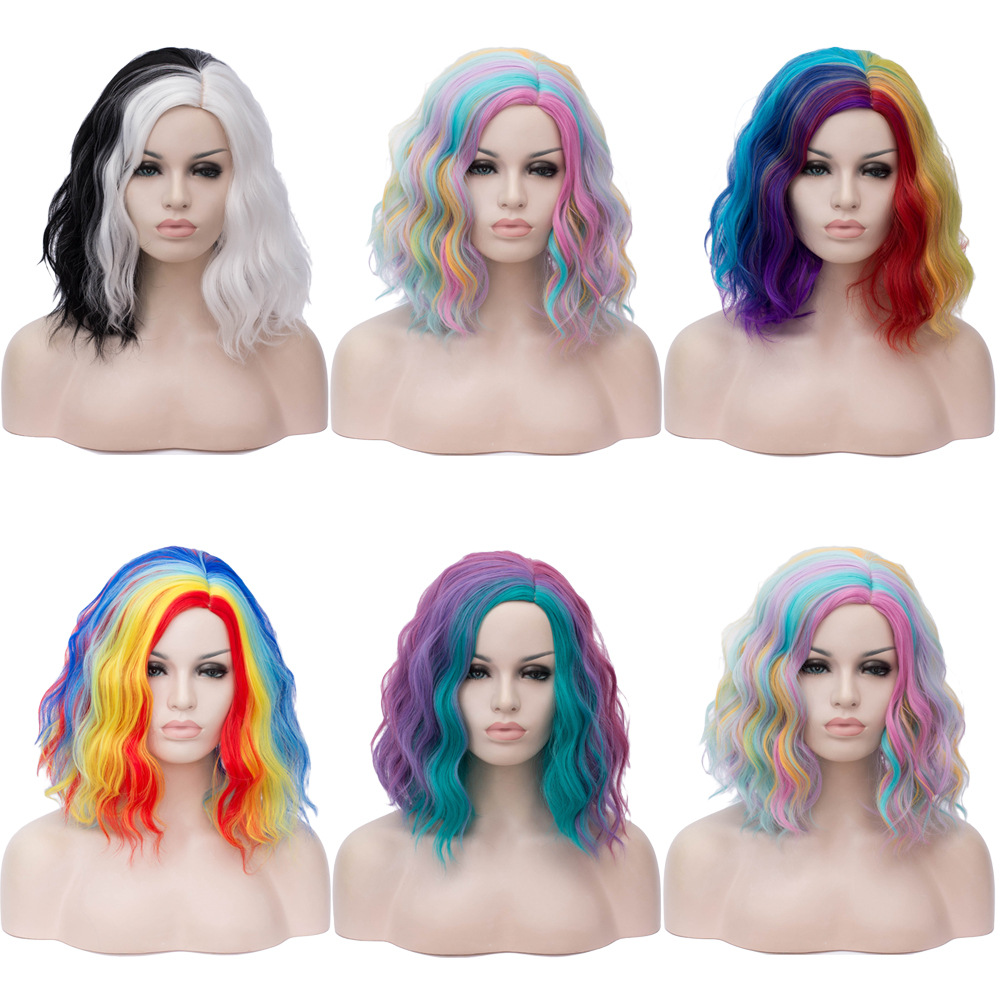 Kinky Hair Curly Short Wigs Rainbow Wigs Colorful Synthetic Hair Women Anime Lolita Cosplay Halloween Heat Resistant Fiber Wig