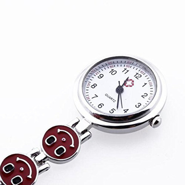 #5001 Creative High Quality Watch Red Heart Shape Quartz Movement Nurse Brooch F