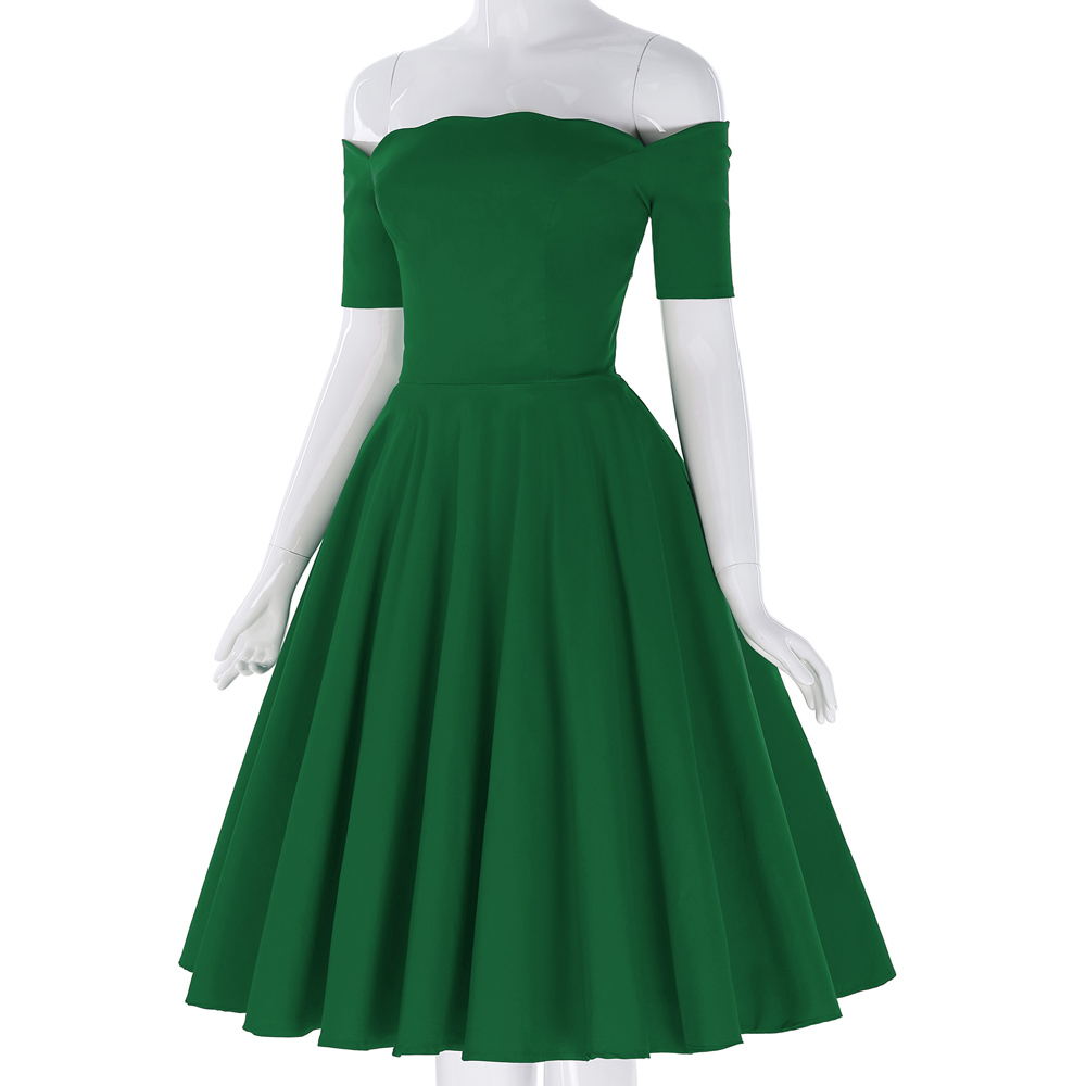 e92e28702612 Belle Poque Off Shoulder Dresses Women Summer Red Green Vintage 50s  Rockabilly Audrey Hepburn Vestidos Casual Party Swing Dress-in Dresses from  Women s ...