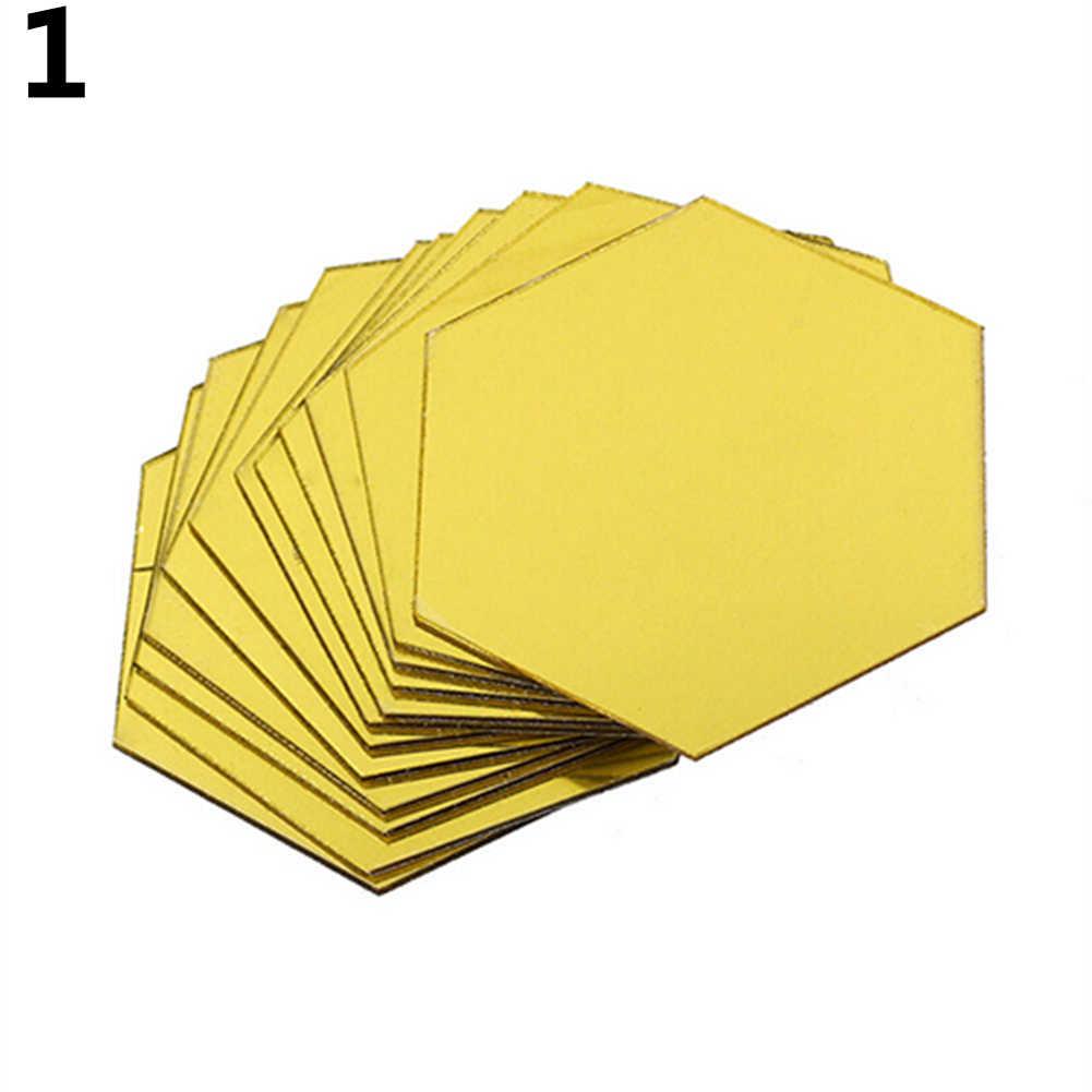 12 pçs/set 3D Hexágono Acrílico Espelho de Parede Adesivos DIY Art Decor Wall Stickers Sala Adesivo Espelhado Ouro Sliver Home Deco
