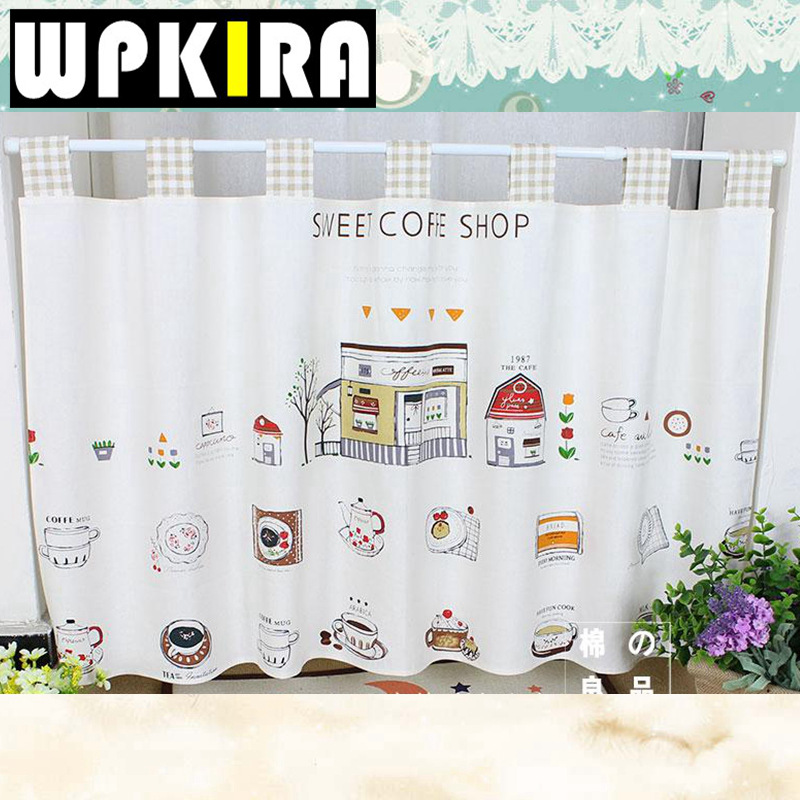 3 Piece Faux Cotton Espresso Brown Kitchen Window Curtain: W140cm Tab Top Sweat Coffee Shop Design Small Coffee
