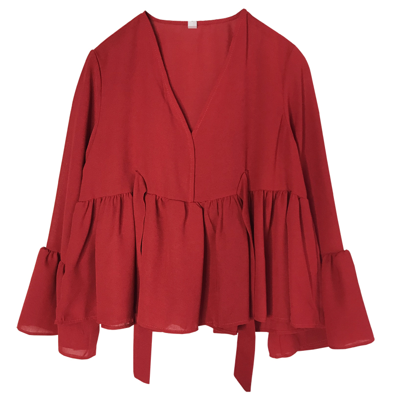 Initiative Perhaps U Women Red Black V Neck Full Sleeve Top Solid High Street Blouse Loose Lace Up Fall Autumn Long Sleeve Flare Top B0190 Lustrous Women's Clothing