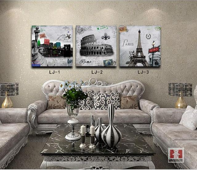 new fashion Paris building Eiffel Tower Statue of Liberty painting for the living room decoration