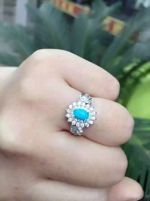 Natural green turquoise Ring Natural gemstone Ring 925 sterling silver trendy luxurious Diana round women's party fine Jewelry