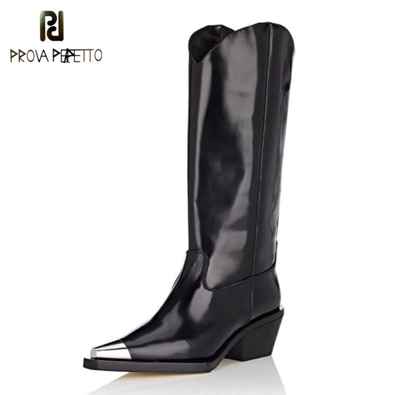 Prova Perfetto New Motorcycle Boots Pointed Toe Knee High Boots Genuine Leather Women Chunky Heel Knight Boots zapatos de mujerProva Perfetto New Motorcycle Boots Pointed Toe Knee High Boots Genuine Leather Women Chunky Heel Knight Boots zapatos de mujer