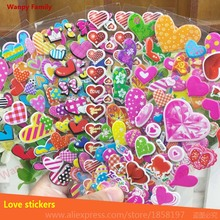 10Pcs/ Lot  heart-shaped Stickers,Cartoon loving heart  wall stickers,for Kids rooms decor stickers, Kids birthday gift stickers цена