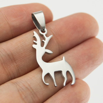 50pcs DIY jewelry deer reindeer necklace Pendant charms mirror double sides polished stainless steel wholesale price pendants