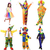 Halloween Costumes Kids Children Funny Clown Costume Naughty Harlequin Uniform Fancy Cosplay Clothes For Boys Girls