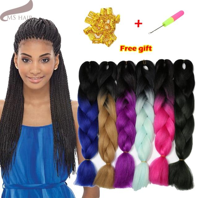 "24""Ombre Kanekalon Braiding Hair braid 100g Two Tone High Temperature Fiber Kanekalon Jumbo Braid Hairs Hair Extensions"