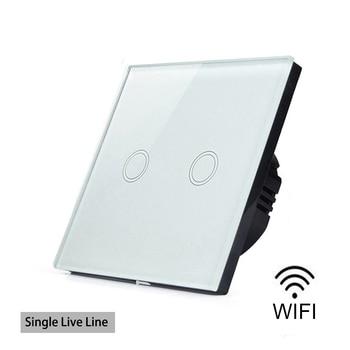 Interruptor de luz táctil de pared inteligente con Wifi de eWelink de 1 vía 2 Gang, cristal resistente al agua de una sola línea