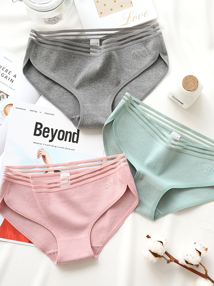 3 pieces high quality 100% cotton Solid color Sexy Comfortable Antibacterial Women underwear Girls Lace No trace Mid Rise Briefs