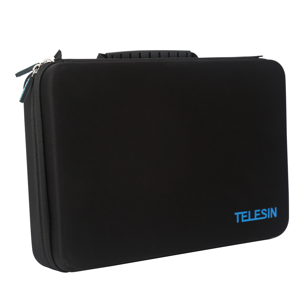 TELESIN Large Black Portable Storage Bag Box Traveling Carry Case for GoPro Hero 6 Hero5 4 3+ 3 2 Xiaomi YI EKEN SJCAM Camera 2pcs hard case storage box protective cover for xiaomi yi gopro hero 5 4 3 hero5 sjcam sj4000 sj5000 camera rechargeable battery