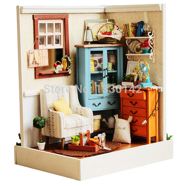 DIY Wooden Doll House Miniature W/Light Dawn Song Room