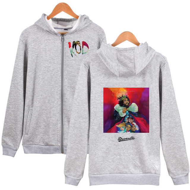 J Cole Zipper Hoodie King Cole Pullover Hoodie Dreamville Zipper Hoodie Sweatershirt Men Women hip hop KOD Zipper Coat Hoodie