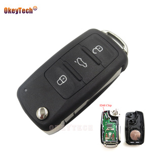 OkeyTech 3 Buttons Remote Flip Car Key for VW Volkswagen Golf Passat Tiguan Polo Jetta 5K0 837 202AD 5K0837202AD 434MHz 48 Chip