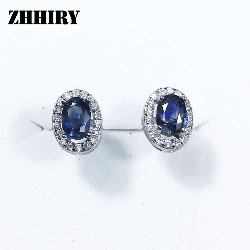 ZHHIRY Natural Sapphire Stone Earring Genuine Solid 925 Sterling Silver Real Gems Earrings Women Fine Jewelry
