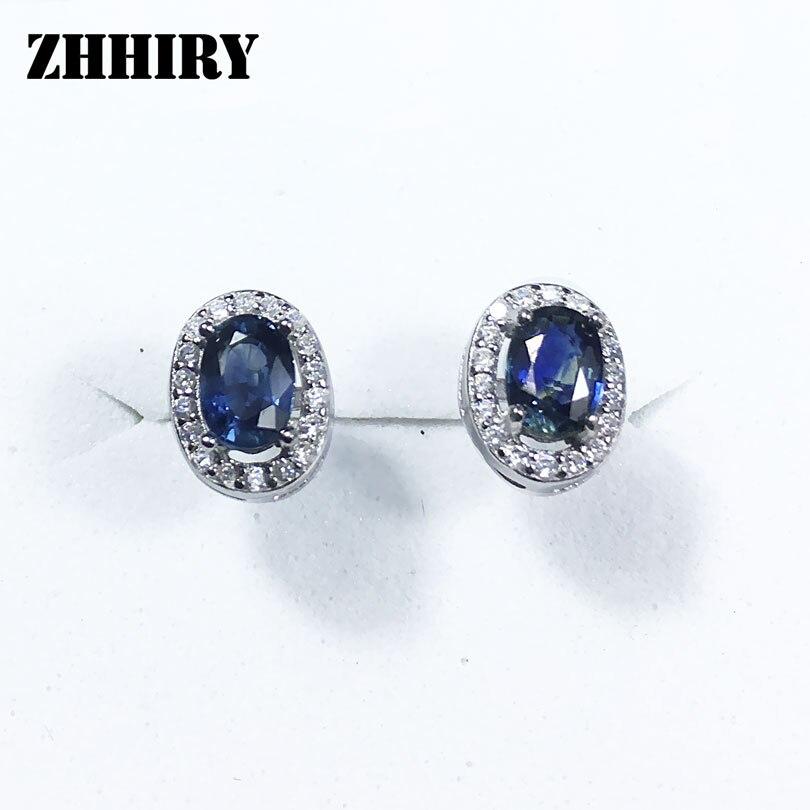 ZHHIRY naturel saphir pierre boucle d'oreille véritable solide 925 en argent Sterling réel gemmes boucles d'oreilles femmes bijoux fins