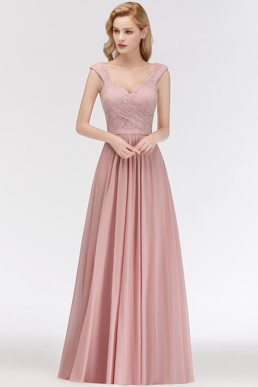 US $10.10 10% OFFNew Long Chiffon Cap Sleeve V Neck Bridesmaid Dresses  Dress A line 10 Bridesmaid For Wedding Party Guest DressBridesmaid  Dresses