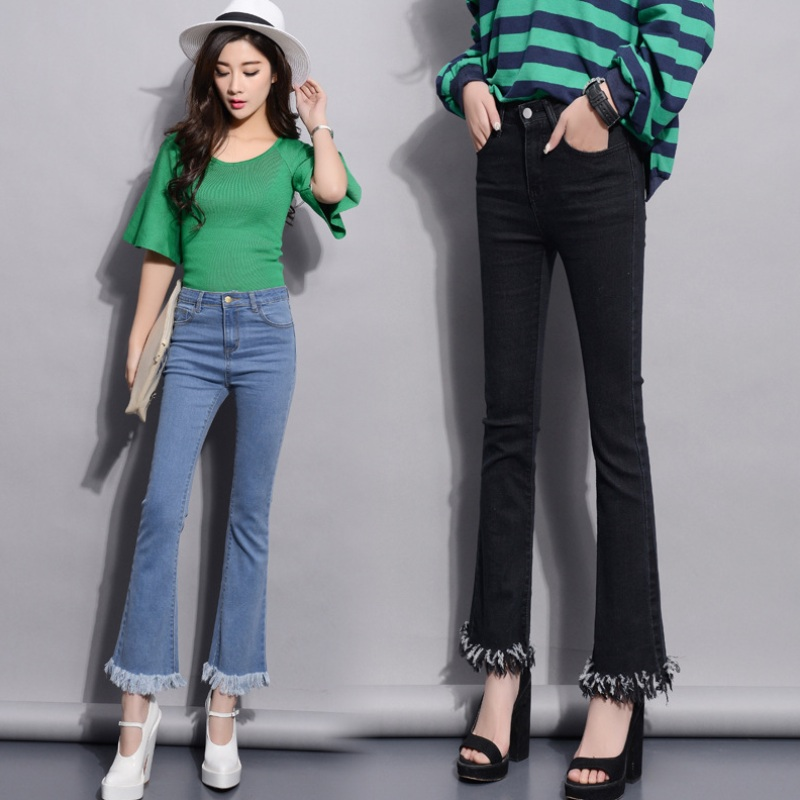 2016 New Fashion Women Irregular Trimmings Ankle Length Denim ...