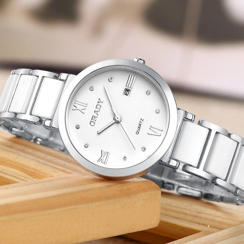 Бренд BUREI, женские часы, водонепроницаемые, модный керамический браслет, кварцевые наручные часы, женские, черные, золотые, белые, Relogio Feminino - 5