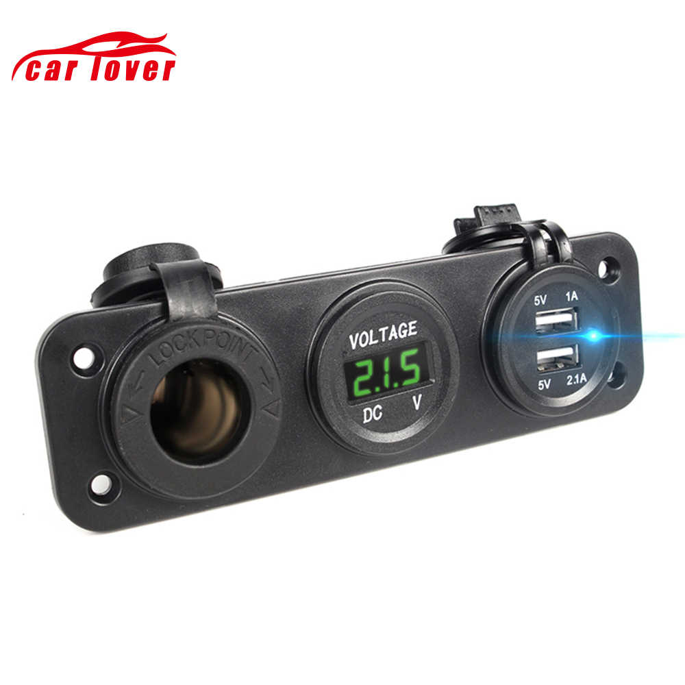 Car Charger Motorcycle Plug Dual USB Adapter + 12V/24V Cigarette Lighter Socket Blue LED + Digital Voltmeter Usb Charger