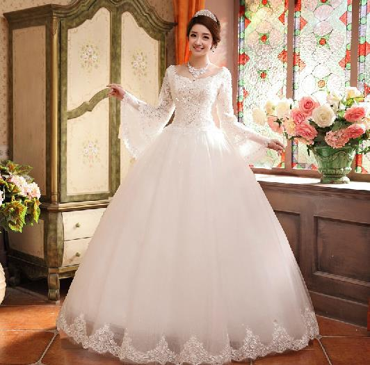 White bridal dresses with full sleeves