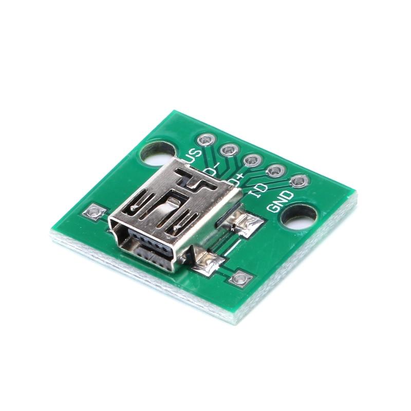 251020Pcs Mini USB to DIP 2.54mm Adapter Connector Module Board Panel Female 5-Pin Pinboard 2.54mm Mini USB PCB Type Parts (1)
