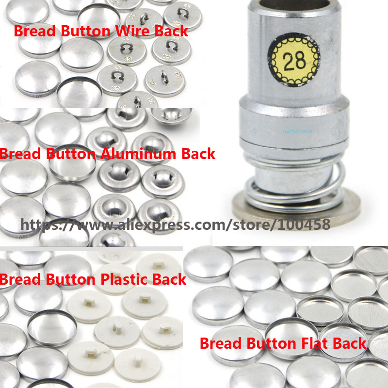 28L Round Aluminum Fabric Self Covered Button Component with Die Tool Metal Bread Top Flat Plastic Ring Back DIY Handmade Button