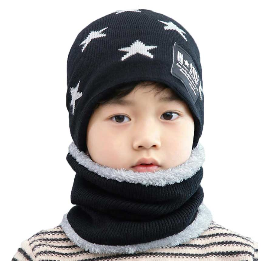 Boys Winter Hat And Scarf Set For Children Girl Star Print Jacquard Knitted Beanie Cap Ring Scarves Kids Bonnet Warm 2 Pcs Suit