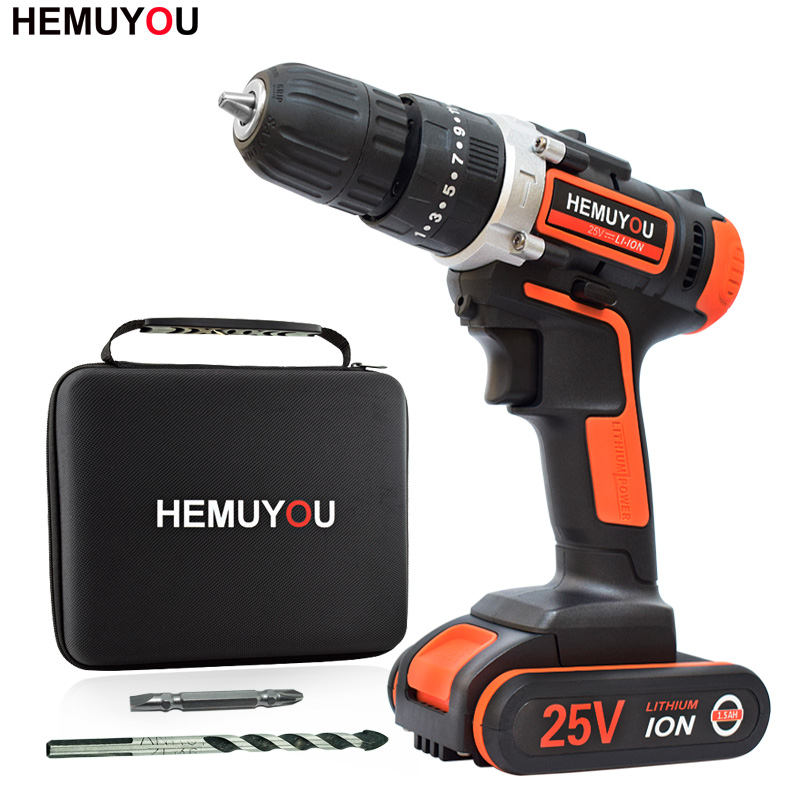25V Lithium Drill Rechargeable Electric Hammer Hand Drill Multi-Function Household Cordless Electric Screwdriver Power Tools