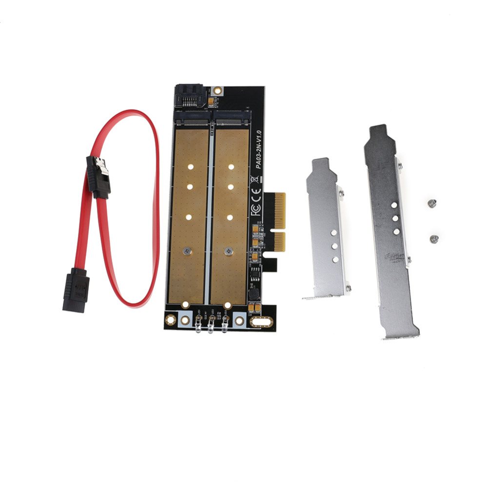 M Key M.2 NGFF SSD PCIe x4 or B Key M.2 NGFF SSD SATA Board High Speed Adapter Card HUB Expansion Card with Data Cable